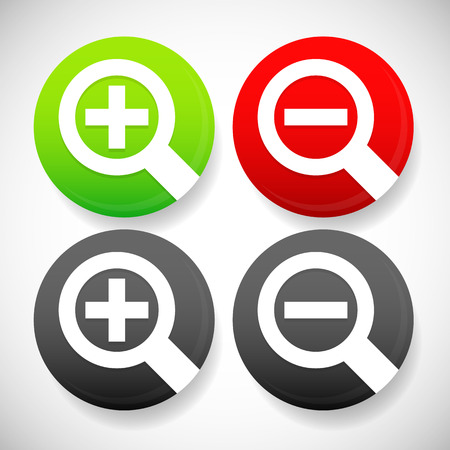 scalability: Circle zoom in, zoom out icons with simple magnifier glass symbols. Stock Photo