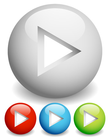 Play buttons - Arrow cut in circles with 3d effect. photo