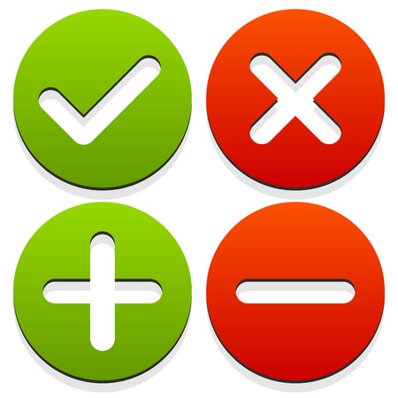Set of 4 icons with check mark, cross and plus, minus signs.