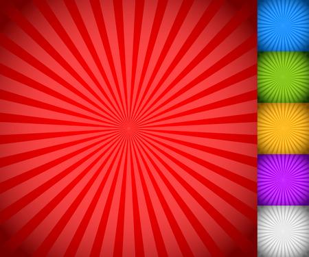 サンバースト、スター バースト背景セット、カラフルな光線、ビームの。青、緑、黄色、紫と白のバージョン。