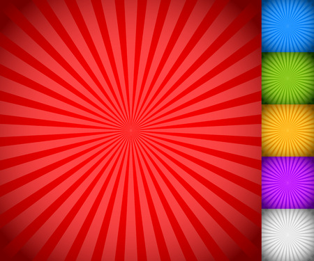 햇살, starburst 배경 설정, 화려한 광선, 광선. 파란색, 녹색, 노란색, 보라색 및 흰색 버전.
