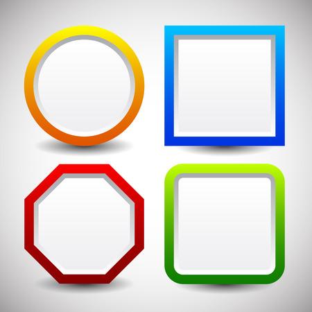 basic shape: Basic shape vector elements with blank white space