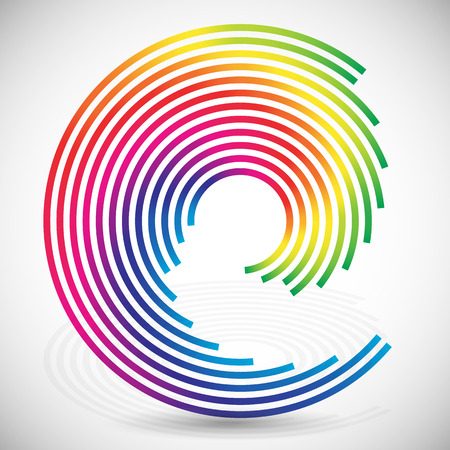 whorl: Concentric, spirally lines with spectrum colors. Twisting, rotating lines in multicolor fashion. Twisted abstract design element. Stock Photo