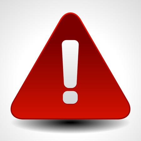赤い警告、注意、注意のサインです。感嘆符、エクスクラメーション マークの道路標識。