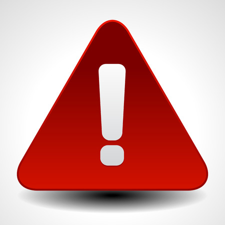 warning icon: Red warning, attention, caution sign. Road sign with exclamation point, exclamation mark.