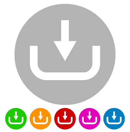 inward: Download button, download icon. Arrow pointing down to a hard drive, Vector