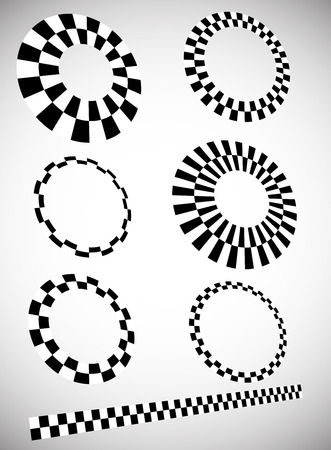 contrasty: Different checkered (chequered) elements in 3d with perspective. Vector. Stock Photo