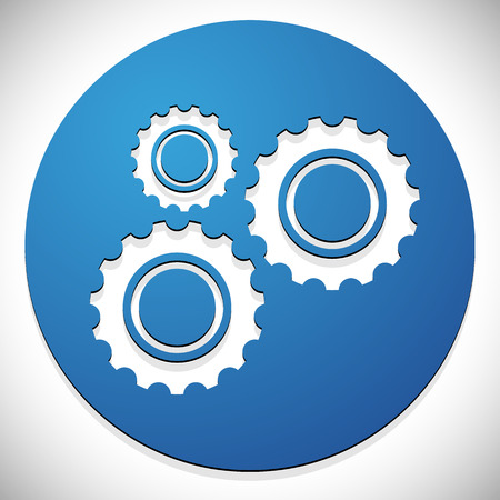 developement: Gears, cogwheels icon, graphics for maintenance, repair, manufacturing and development concepts. Stock Photo