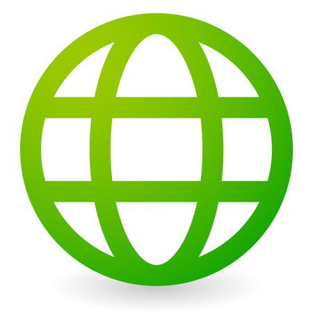 Grüne Planeten-Symbol, Symbol Mit Gitter, Drahtmodell- Lizenzfreie ...