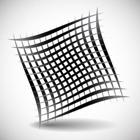 twisty: Abstract wavy grid, mesh of curved lines with twisted, spirally effect. Artistic black and white element isolated on white.