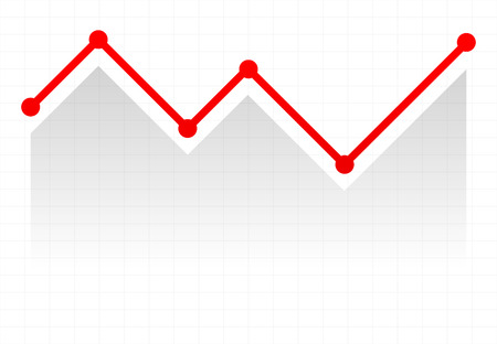 upturn: Line graph element. Graph, chart over gridded background. Vector. Stock Photo