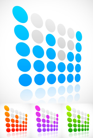 eq: Dotted EQ, equalizer elements with perspective. Vector. Stock Photo