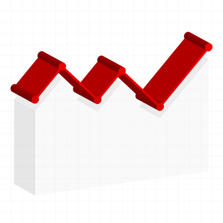 upturn: Line graph element. Graph, chart over gridded background. 3d. Stock Photo
