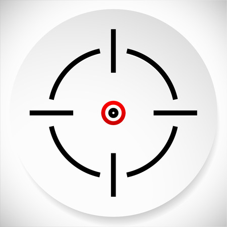 reticule: Cross-hair, reticle graphics on circle shape. Vector