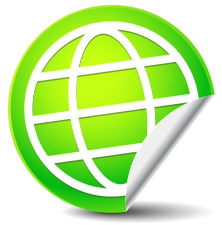 wireframe globe: Wire-frame globe on peeling green sticker. Vector icon.
