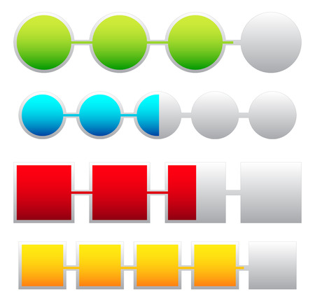 adjusted: Progress indicators, loading, progress bars with basic colors. Levels can be adjusted with opacity masks. Stock Photo