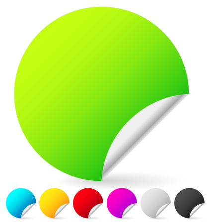 peeling corner: Set of blank colorful peeling stickers. 7 colors included. Vector. Stock Photo