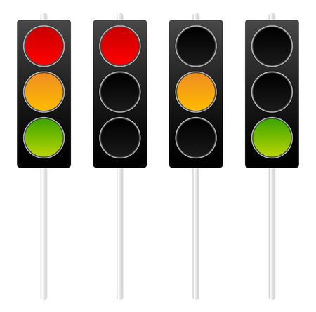 authorize: Traffic lights, traffic lamps isolated on white. Vector Stock Photo