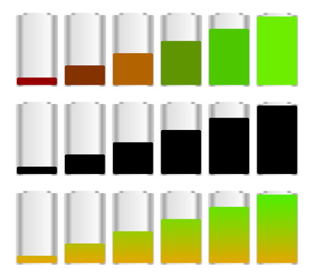 energy consumption: Battery level indicator set with 3 versions. Recharging, energy conservation, energy consumption concepts. Vector. Stock Photo