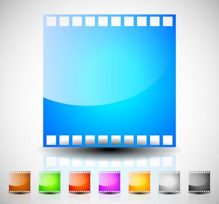 cinematography: Film strip, film frame icons for photography, cinematography concepts. Stock Photo