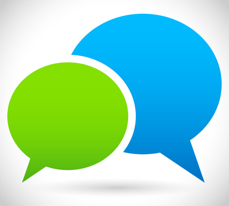 speech bubble: Two overlapping speech Stock Photo