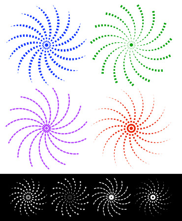 spiraling: Various colorful abstract spirally elements with dashed lines.