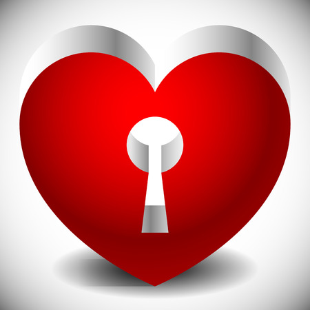 haert: Single heart with keyhole in it. Metallic 3d effect and shadows. Stock Photo