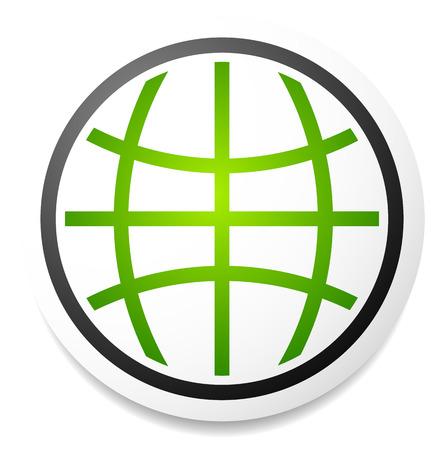 Wire-Frame-Kugel Auf Peeling Grüne Plakette. Vektor-Symbol ...