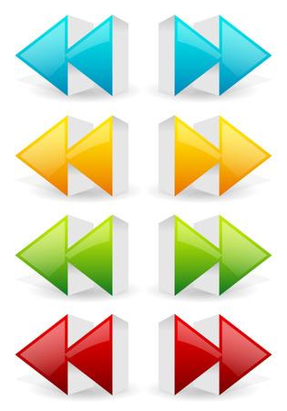 arow: Glossy 3d forward and backward (rewind, fast forward) arrow buttons, icons.