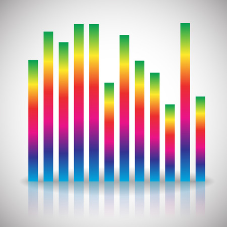 vertical bars: Single colorful eq, equalizer element isolated on white background. Vertical bars for channels, frequency, melody, soundtrack concepts. Vector.