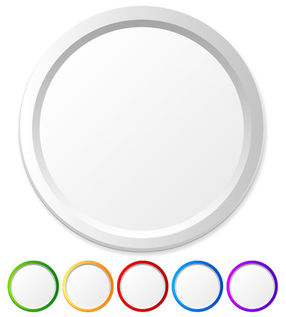 isolated on grey: Circles, shapes with empty space for icons, logos, texts Stock Photo