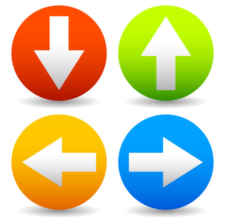 all right: Arrow icons pointing up, down, left and right. Vector graphic Stock Photo