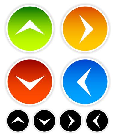 Flecha iconos apuntando hacia arriba, abajo, izquierda y derecha. Gráficos vectoriales Foto de archivo - 40397596