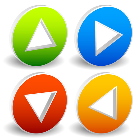clockwise: Arrow icons pointing up, down, left and right. Vector graphic Stock Photo