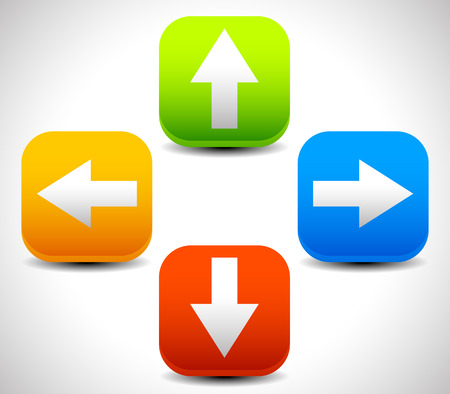 up and down: Arrow icons pointing up, down, left and right. Vector graphic Stock Photo