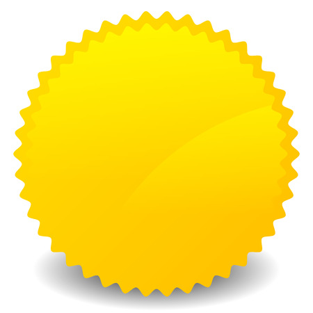 Isolated yellow, orange starburst shape with blank space. Vector Foto de archivo