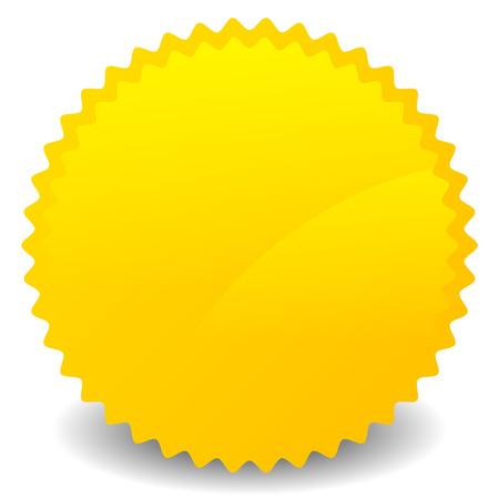 Isolated yellow, orange starburst shape with blank space. Vector Standard-Bild