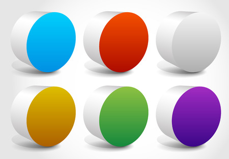 ten empty: Abstract colorful cylinder, cylindrical shapes, editable vector.