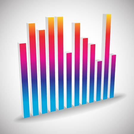 eq: Individual 3d ecuaci�n, elemento igualador aislado sobre fondo blanco. Las barras verticales de los canales, la frecuencia, la melod�a, conceptos banda sonora. Vector.