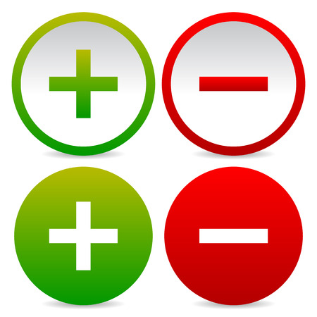 Plus and minus signs, symbols Stock Photo