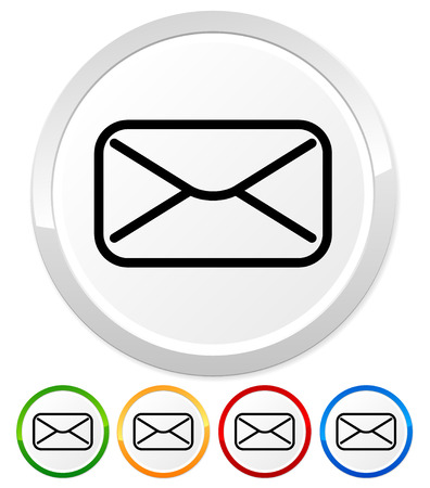 get in touch: Icons with email, envelope or letter symbol Stock Photo