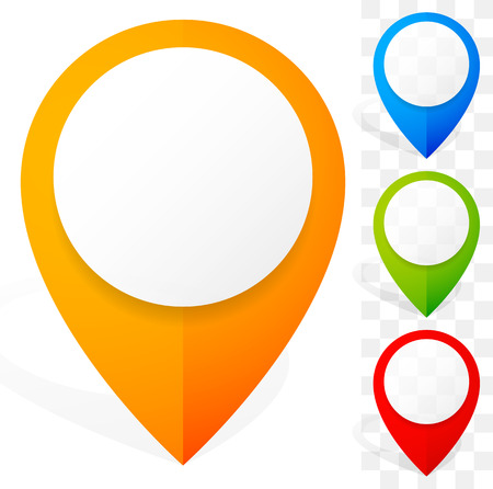 Set of colorful map marker, map pin icons. Vector