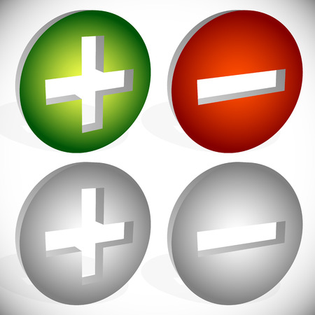 Set of plus minus, add remove signs, symbols or icons. Vector graphics. photo