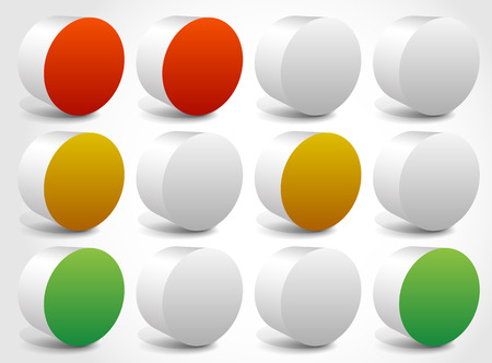 disallow: Set of abstract traffic lights, traffic lamps. vector