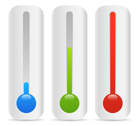 rising temperature: rising thermometer, thermograph set. vector elements. temperature, climate concepts.