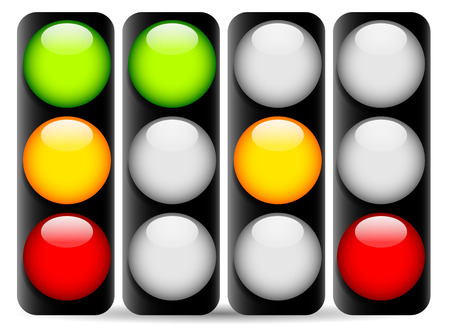 trafic stop: Traffic lamps, traffic lights isolated on white, vector