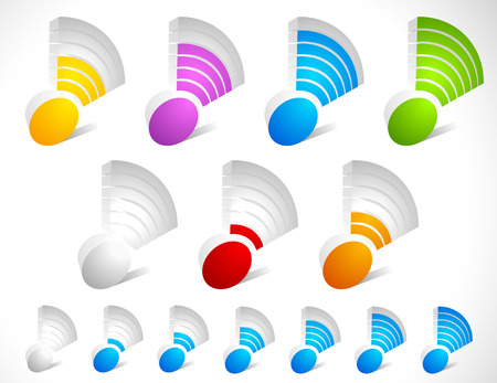 mobil: 3d wireless signal strength indicator set. Colorcoded and one-color versions.