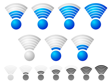antena: Bright blue wireless signal strength indicator set with grayscale, monochrome version included.