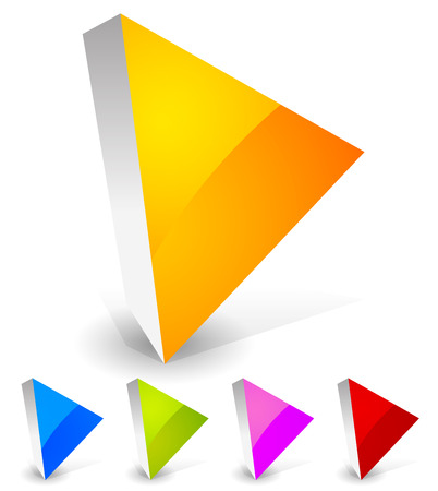button icons: Bright and glossy play button icons in 3d. Orange, blue, green, purple and red colors.