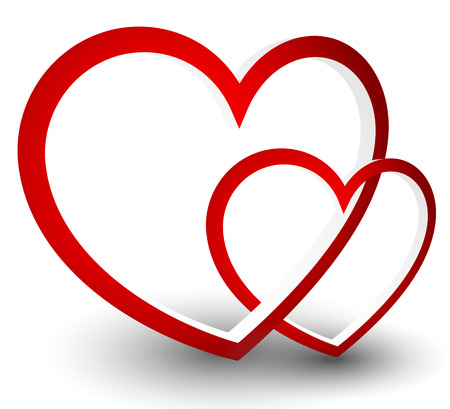 Vector graphics with red heart. Archivio Fotografico